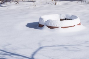 Fire pit in snow